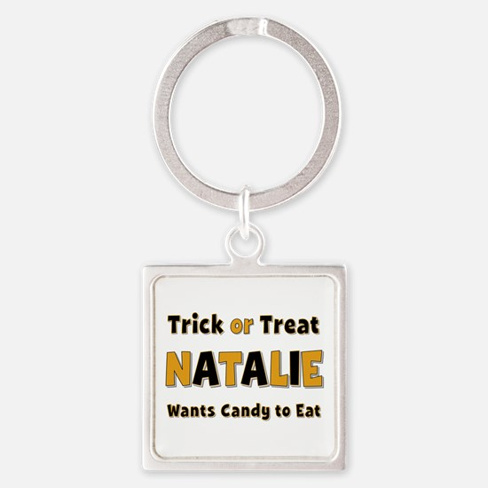 Natalie Trick or Treat Square Keychain