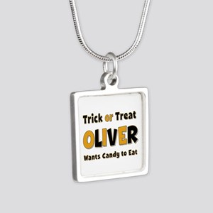 Oliver Trick or Treat Silver Square Necklace
