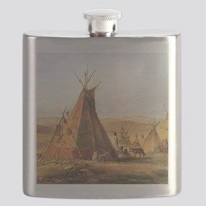 Teepees on the Plain Flask
