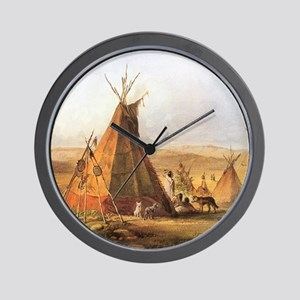 Teepees on the Plain Wall Clock