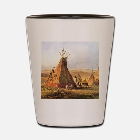 Teepees on the Plain Shot Glass