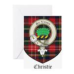 Christie Clan Badge Tartan Greeting Cards (Pk of 1