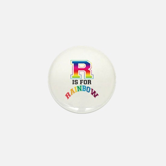 R is for Rainbow Mini Button