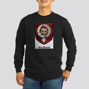 MacDonald Clan Crest Tartan Long Sleeve Dark T-Shi