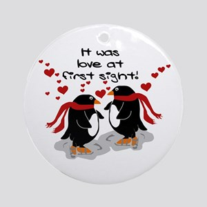 Penguins Love at First Sight Ornament (Round)