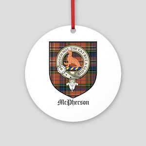 McPherson Clan Crest Tartan Ornament (Round)