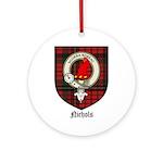 Nichols Clan Crest Tartan Ornament (Round)