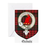 Nichols Clan Crest Tartan Greeting Cards (Pk of 10
