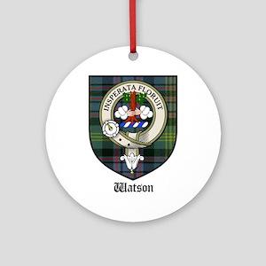 Watson Clan Crest Tartan Ornament (Round)