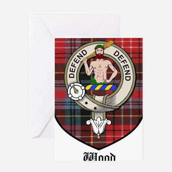 Wood Clan Crest Tartan Greeting Card