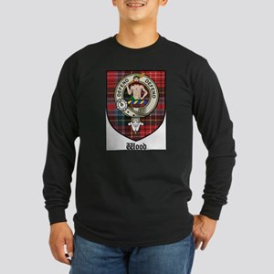 Wood Clan Crest Tartan Long Sleeve Dark T-Shirt