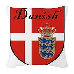 Danish Flag Crest Shield Woven Throw Pillow