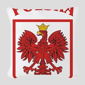 Polskaeagleshield Woven Throw Pillow