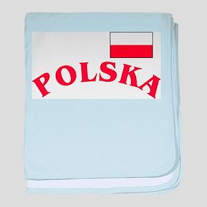 Polska-withflag baby blanket