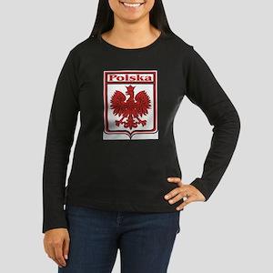 Polska Crest Shield Women's Long Sleeve Dark T-Shi