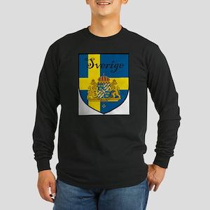 Sverige Flag Crest Shield Long Sleeve Dark T-Shirt