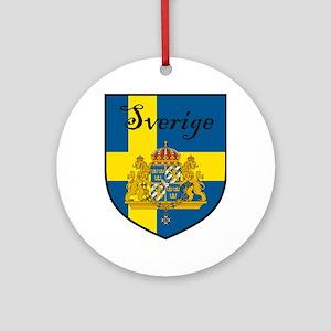 Sverige Flag Crest Shield Ornament (Round)
