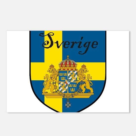 Sverige Flag Crest Shield Postcards (Package of 8)