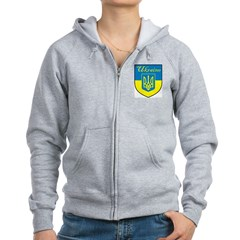 Ukraine Flag Crest Shield Zip Hoodie