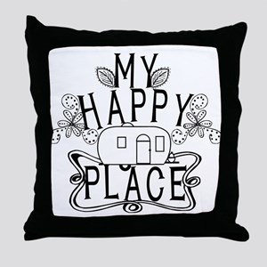 Camping My Happy Place Throw Pillow