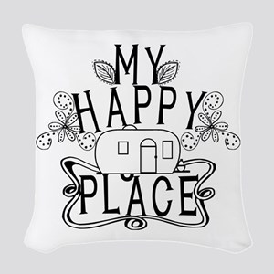 Camping My Happy Place Woven Throw Pillow
