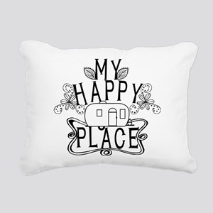 Camping My Happy Place Rectangular Canvas Pillow