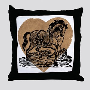 Vintage Horse and Heart Throw Pillow