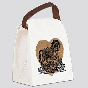 Vintage Horse and Heart Canvas Lunch Bag