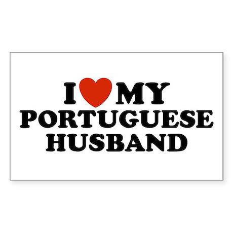 I Love My Portuguese Husband Rectangle Sticker