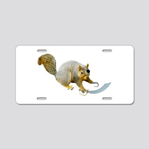 Pirate Squirrel Aluminum License Plate
