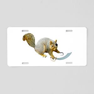 Pirate Squirrel Aluminum License Plate