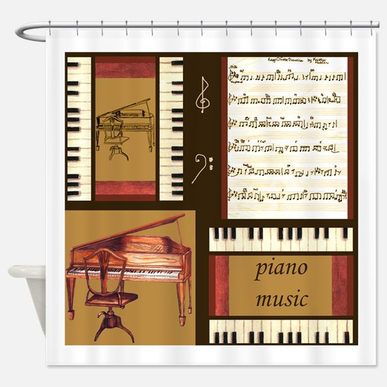 Piano Keys Music Song Clef Shower Curtain