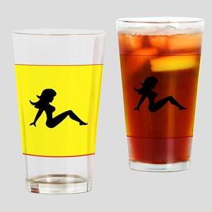 Trucker Girl on Yellow Drinking Glass