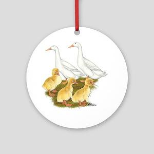 White Duck Family Ornament (round)