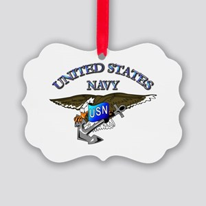 Navy - Eagle with Anchor Picture Ornament