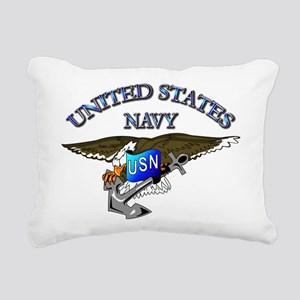 Navy - Eagle with Anchor Rectangular Canvas Pillow