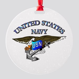 Navy - Eagle with Anchor Round Ornament