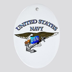 Navy - Eagle with Anchor Ornament (Oval)