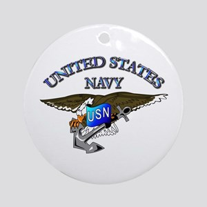 Navy - Eagle with Anchor Ornament (Round)