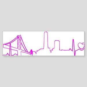 San Francisco Heartbeat (Heart) F Sticker (Bumper)
