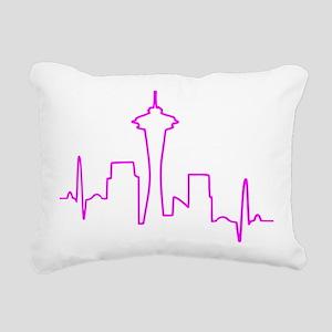 Seattle Heartbeat Fuschi Rectangular Canvas Pillow