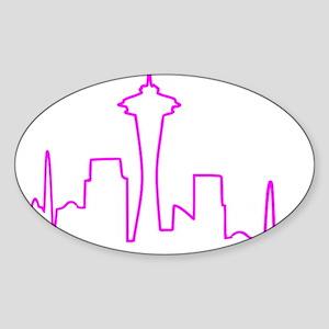 Seattle Heartbeat Fuschia Sticker (Oval)
