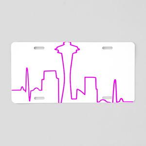 Seattle Heartbeat Fuschia Aluminum License Plate