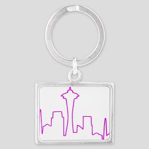 Seattle Heartbeat Fuschia Landscape Keychain