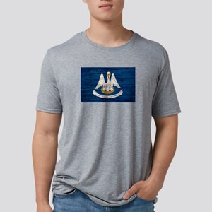 Louisiana Wood Pallet Flag Mens Tri-blend T-Shirt