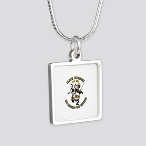 Navy SeaBee - Construction Silver Square Necklace