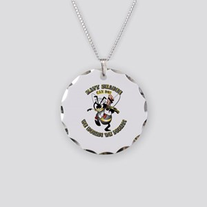 Navy SeaBee - Construction Necklace Circle Charm