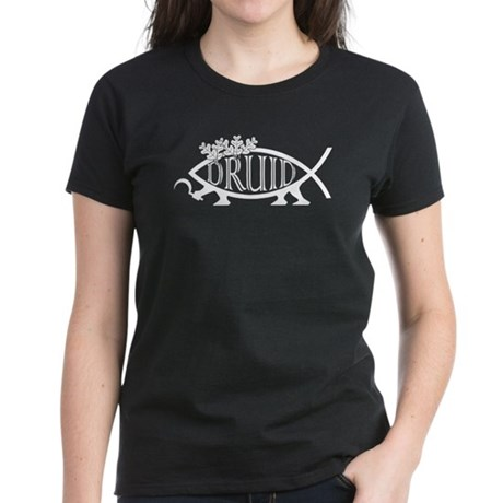 Druid Fish (White) Women's Dark T-Shirt