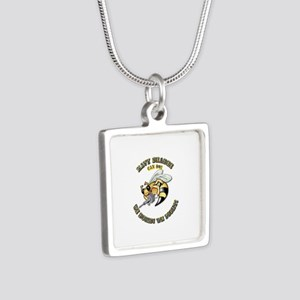 New Navy SeaBee Silver Square Necklace