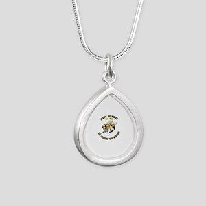New Navy SeaBee Silver Teardrop Necklace